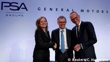 06.03.2017+++ Carlos Tavares (C), Chairman of the Managing Board of French carmaker PSA Group, Mary Barra (L), chairwoman and CEO of General Motors, and Dr Karl-Thomas Neumann, Chairman of the Management Board Opel Group GmbH, pose during a news conference in Paris, France, March 6, 2017. PSA Group has agreed to buy Opel from General Motors in a deal valuing the business at 2.2 billion euros ($2.3 billion) creating a new regional car giant. REUTERS REUTERS/Christian Hartmann