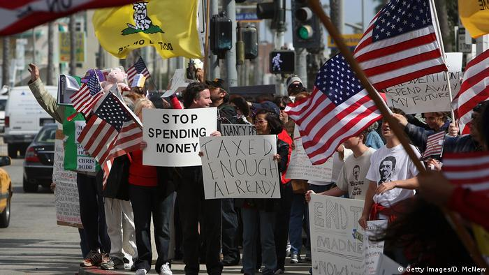 Demonstrators at an American Family Association event to protest taxes in Santa Monica, California