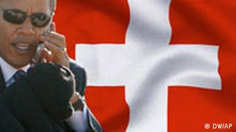 US President Barack Obama and a Swiss flag