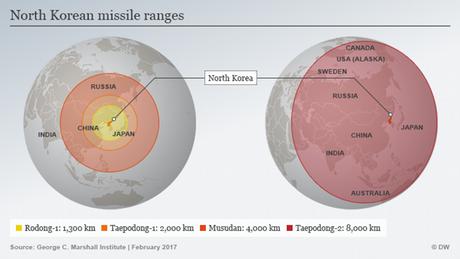 Infografik Reichweite der nordkoreanischen Rakete ENG