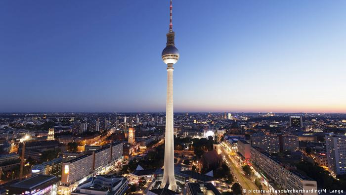 Berlin's TV tower at night
