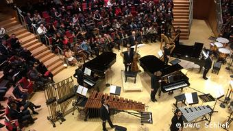 Pianos and percussion instrumnents on the stage of the Pierre Boulez Hall in Berlin (DW/G. Schließ)
