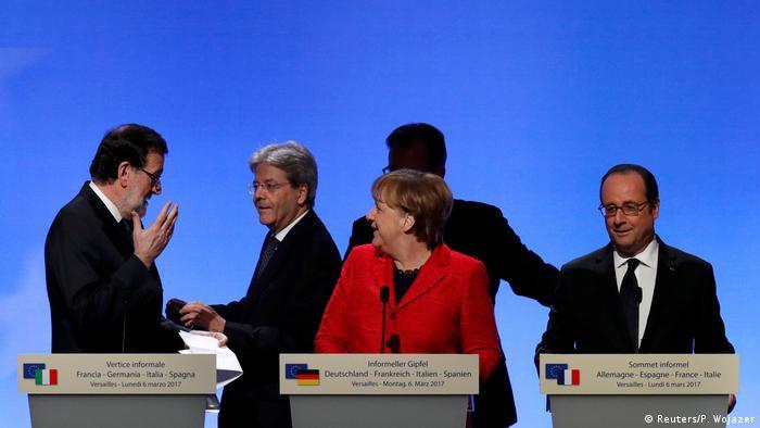 Мариано Рахой, Паоло Джентилони, Ангела Меркель, Франсуа Олланд
