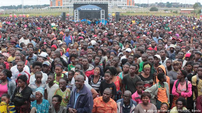 A mass of people at a church congregation in Lusaka