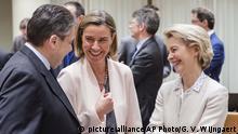 Belgien Sigmar Gabriel, Ursula von der Leyen, Federica Mogherini