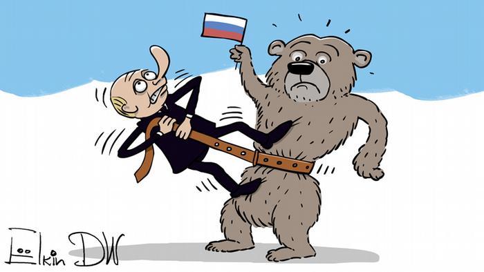 Путин затягивает у русского медведя ремень потуже. Карикатура Сергея Елкина