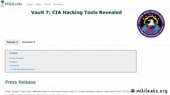 Screenshot Vault 7 CIA Hacking Tools Revealed (wikileaks.org)