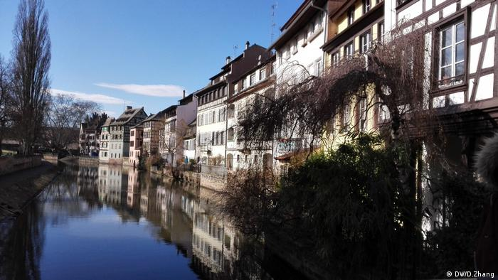 A row of houses on a canal in Stasbourg
