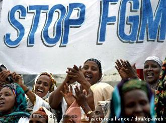 Women protesting against female genital mutilation