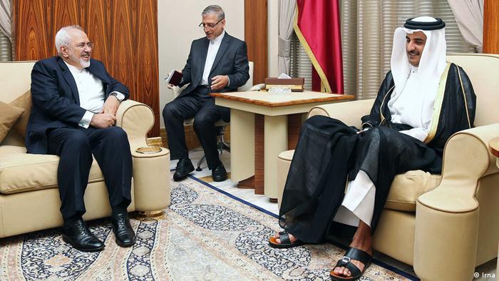 Katar Außenminister Iran Mohammad Javad Zarif & Scheich Hamad Al Thani (Irna)