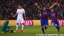 Barcelona's Uruguayan forward Luis Suarez (2ndR) celebrates after scoring the opener during the UEFA Champions League round of 16 second leg football match FC Barcelona vs Paris Saint-Germain FC at the Camp Nou stadium in Barcelona on March 8, 2017. / AFP PHOTO / Josep Lago (Photo credit should read JOSEP LAGO/AFP/Getty Images)