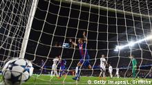 08.03.2017 BARCELONA, SPAIN - MARCH 08: Luis Suarez of Barcelona celebrates as Sergi Roberto of Barcelona scores their sixth goal during the UEFA Champions League Round of 16 second leg match between FC Barcelona and Paris Saint-Germain at Camp Nou on March 8, 2017 in Barcelona, Spain. (Photo by Laurence Griffiths/Getty Images)