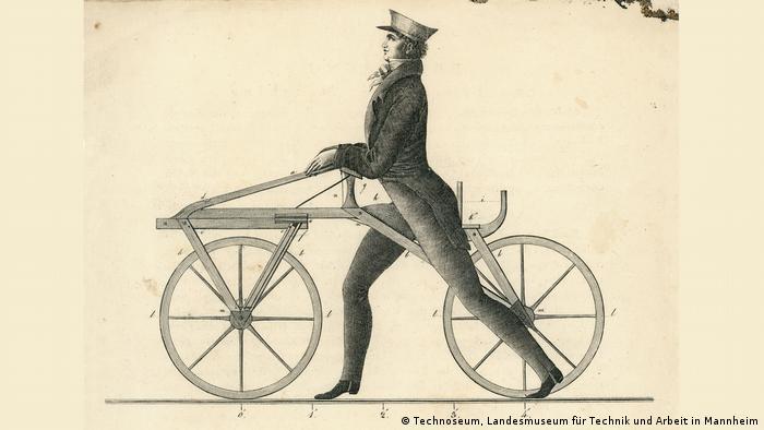 Этот рисунок-чертеж своей беговой машины Карл Дрез сделал специально для популярной брошюры.