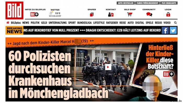 Screenshot of Bild.de showing story about Marcel H.
