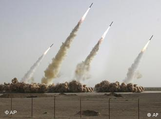 Iranian rocket testing showing rockets shooting into the air