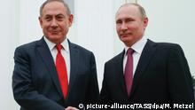 MOSCOW, RUSSIA - MARCH 9, 2017: Israel's Prime Minister Benjamin Netanyahu (L) and Russia's President Vladimir Putin shake hands during a meeting at Moscow's Kremlin. Mikhail Metzel/TASS |