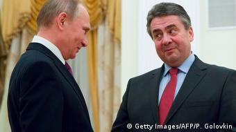 Зигмар Габриэль на встрече с Владимиром Путиным в марте 2017 года