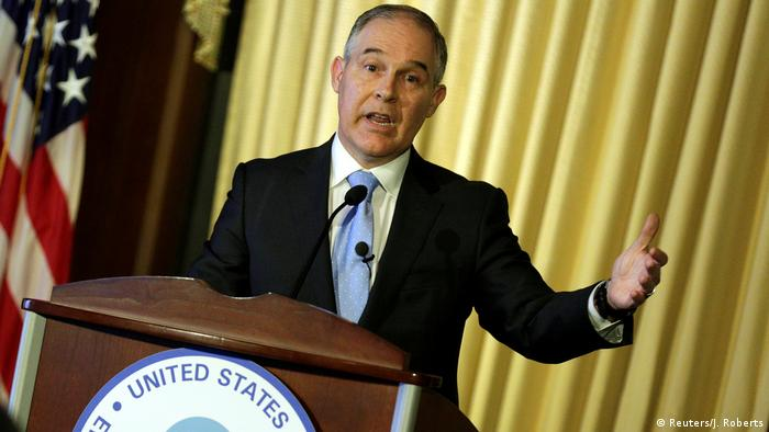 Scott Pruitt, administrator of the Environmental Protection Agency (EPA), speaking to employees of the agency in Washington, February 21, 2017 (Reuters/J. Roberts)