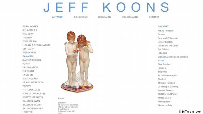 Captura de pantalla de la página web de Jeff Koons.