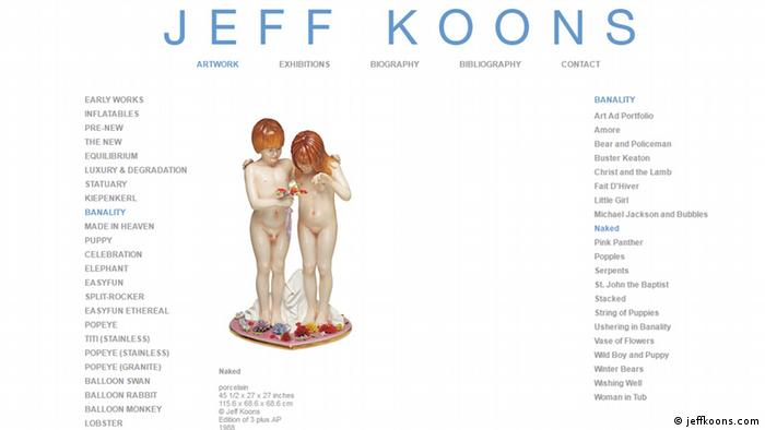Jeff Koons Webseite Screenshot Skulptur naked (jeffkoons.com)