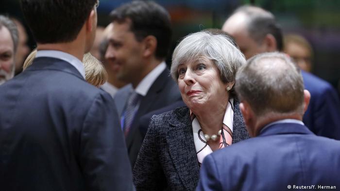 Großbritannien Theresa May beim EU Gipfel in Brüssel (Reuters/Y. Herman )