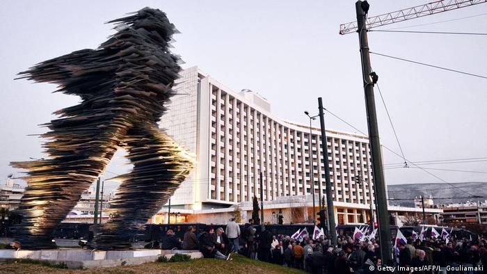 Demo against Troika of Greece's creditors in front of Hilton Hotel in Athens (Getty Images/AFP/L. Gouliamaki)