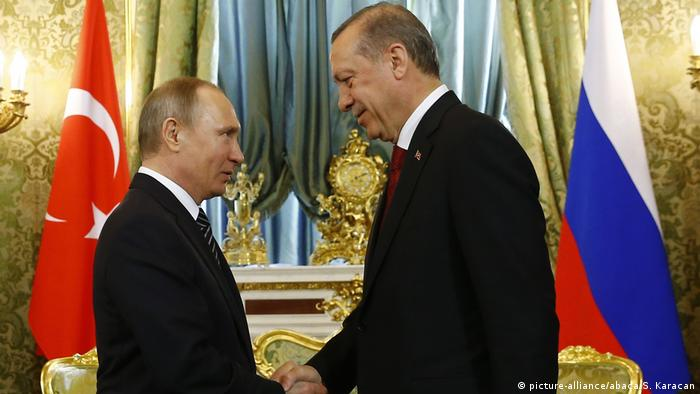 Turkish President Recep Tayyip Erdogan (R) meets with Russian President Vladimir Putin (L) in Moscow, Russia on March 10, 2017