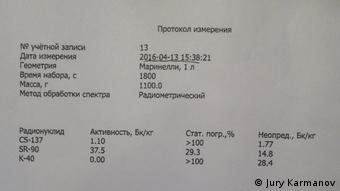 Стронций-90 - 37,5 Бк/кг - в 10 раз выше нормы