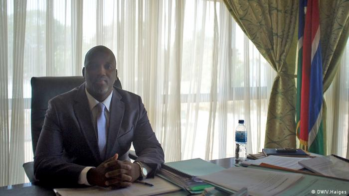 Aboubacarr Tambadou at his desk in the justice ministry