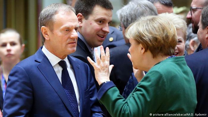Ангела Меркель и Дональд Туск на саммите в Брюсселе