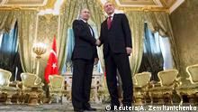 10.03.2017 Russian President Vladimir Putin (L) shakes hands with his Turkish counterpart Tayyip Erdogan during a meeting at the Kremlin in Moscow, Russia, March 10, 2017. REUTERS/Zemlianichenko/Pool