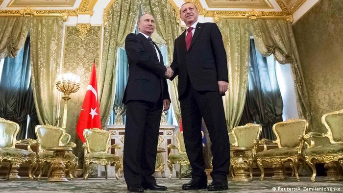 Путин и Эрдоган в роскошном зале с золотыми креслами