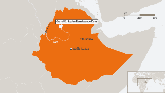 Map of Grand Renaissance Dam in Ethiopia