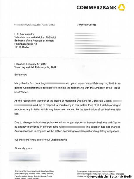 Commerzbank-Schreiben an den jemenitischen Botschafter in Deutschland vom 17.2.17