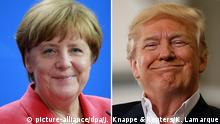 Bildcollage Donald Trump Angela Merkel lächelnd
