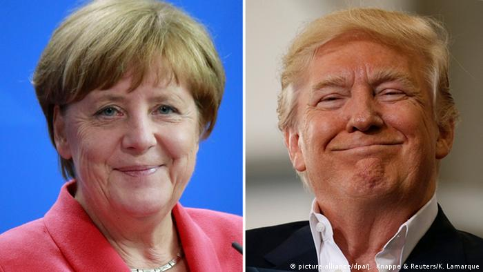 Bildcollage Donald Trump Angela Merkel lächelnd (picture-alliance/dpa/J. Knappe & Reuters/K. Lamarque)