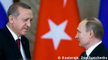 Russian President Vladimir Putin (R) shakes hands with his Turkish counterpart Tayyip Erdogan after the talks at the Kremlin in Moscow, Russia, March 10, 2017. REUTERS/Alexander Zemlianichenko/Pool TPX IMAGES OF THE DAY