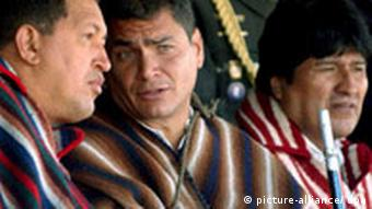 Rafael Correa, Hugo Chávez y Evo Morales. (Archivo).