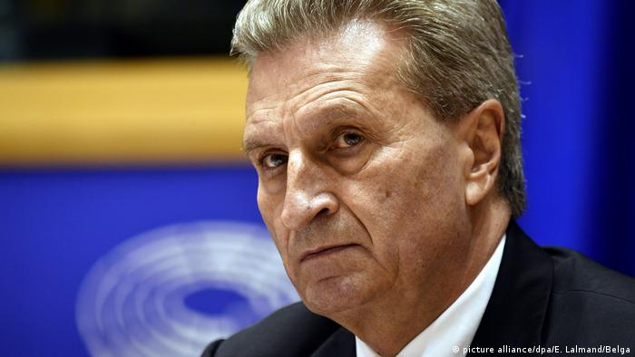 EU Budget Commissioner Günther Oettinger attending his first meeting in Brussels in January 2017