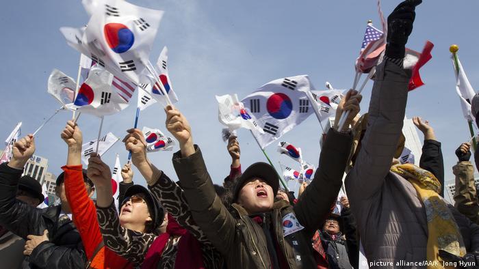 Südkorea Amtsenthebung von Südkoreas Präsidentin Park - Befürworter (picture alliance/AA/K. Jong Hyun)