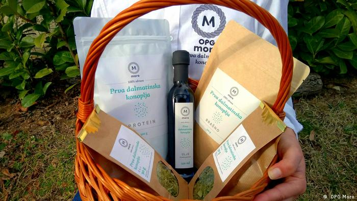A basket full of hemp-related products