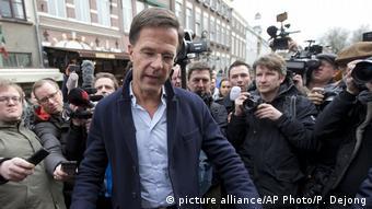 Niederländischer Premierminister Mark Rutte bei Wahlkampagne in Breda
