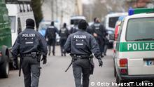 February 1, 2017# FRANKFURT AM MAIN, GERMANY - FEBRUARY 01: Police are seen outside the Bilal mosque in Griesheim district following anti-terror raids across the state of Hesse on February 1, 2017 in Frankfurt, Germany. Approximately 1,000 police officers were involved in the raids of 54 residences, apartments and businesses. Police arrested a Tunisian man whom they suspect of working with the Islamic State (IS) and planning terror attacks in Germany. Authorities say they have also identified 16 other people they suspect as accomplices. (Photo by Thomas Lohnes/Getty Images)