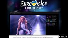 Screenshot der Seite 1tv.ru Sängerin Julia Samojlowa