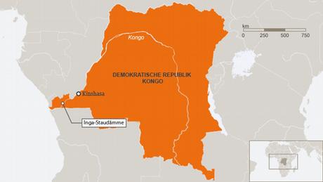 El mapa de la República Democrática del Congo en África.
