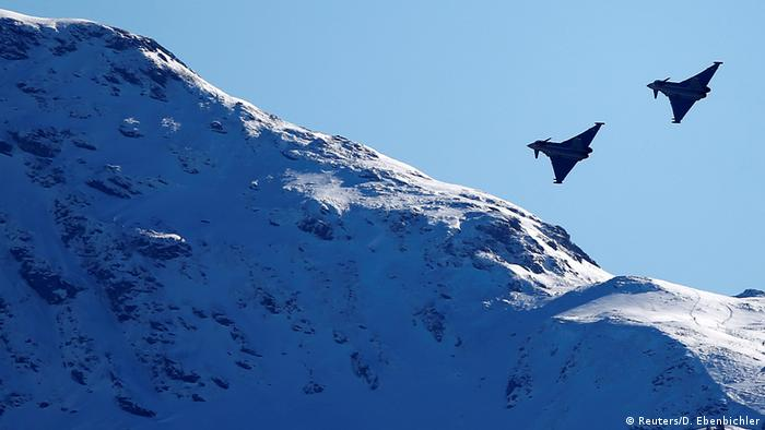 Eurofighter Typhoon aircraft during an aerial exhibition