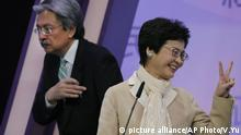 Carrie Lam, John Tsang Chun-wah Hongkong TV Debatte (picture alliance/AP Photo/V.Yu)