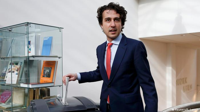 Jesse Klaver votes in the general election in The Hague