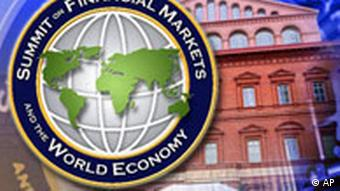 Logo of World Financial Summit in Washington in foreground with buildings of financial institutions in background