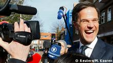 15.3.2017*** Dutch Prime Minister Mark Rutte of the VVD party greets supporters after voting in the general election in The Hague, Netherlands, March 15, 2017. REUTERS/Michael Kooren